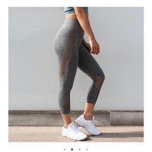 Pants - Astoria Activewear Seamless Mesh 3/4 Legging Grey
